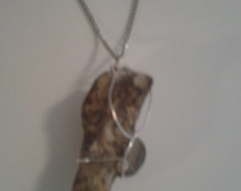 Wire wrapped fossilized wood pendant necklace