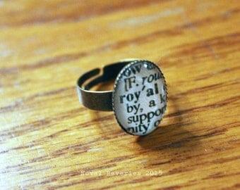 Royal upcycled dictionary ring