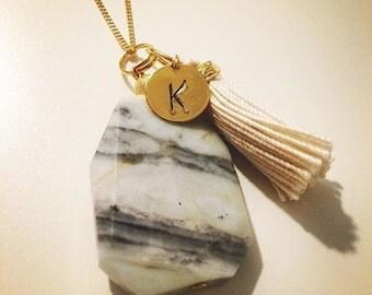 Amazonite stone personalized necklace