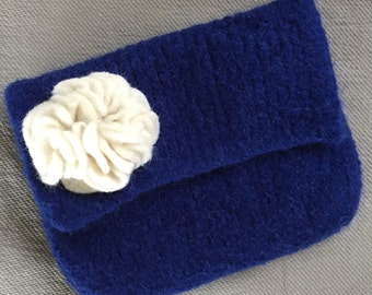 Hand knit felted small clutch purse