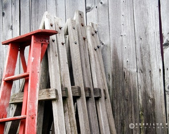 Fine Art Print, Red old Ladder, Rustic Decor, Old Barn Wood, Grey, Silver, Red.