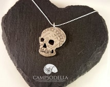 Pirate Skull Silver coin  medallion pendant necklace made from solid silver British Victorian 1891 Half crown Rum Steampunk gift for him her