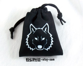 Ranger Fantasy RPG Mini Drawstring Dice Pouch, White Symbol on Black