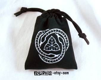 Druid Fantasy RPG Mini Drawstring Dice Pouch, White Symbol on Black