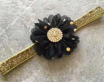 Black gold headband, Gold baby hair bow, flower headband, baby headband, shabby chic roses, lace headband, baby girl headband, hair bows