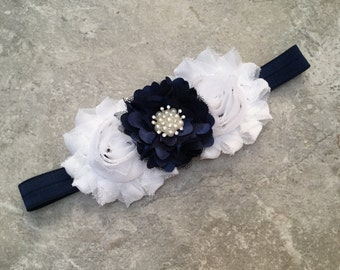 Navy white headband, Baby Hair Bow, flower headband, baby headbands, shabby chic roses, baby girl headband, white flower headband, hair bows