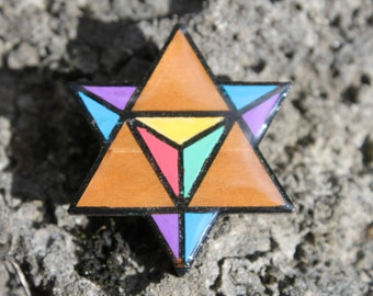 Wooden Hand Painted Star Tetrahedron Sacred Geometry Festival Pin