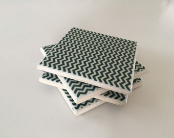 Tile coasters - set of 4 - teal chevron