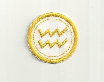 Zodiac Aquarius Merit Badge, Patch! Any Color Combo, Custom Made!
