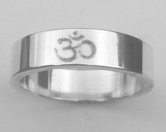 Om, Serenity Wedding Band Ring Sterling Silver 6mm Wide