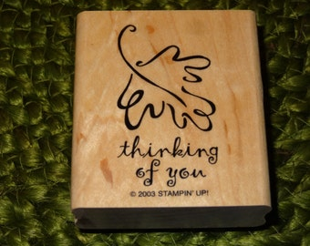 """Stampin' Up! """"thinking of you"""" Rubber Stamp / Used Rubber Stamp / THINKING OF YOU"""