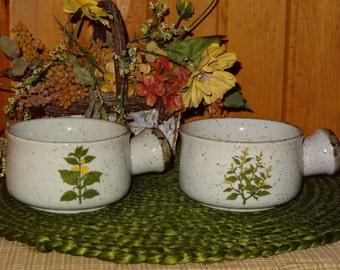 Pair of Stoneware Soup Crocks / Stoneware / Soup Bowls