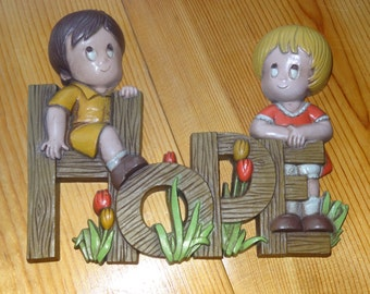 Set of 3 Burwood Products Children Wall Plaques / Burwood Products / Child's Decor / Child's Wall Decor