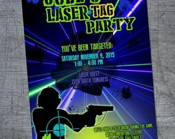 Printable customized Laser Tag invitation, laser tag party, laser tag, laser tag birthday, lazer tag