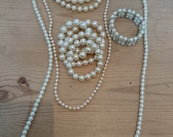 Vintage Pearls, necklaces, bracelets and a pair of earrings