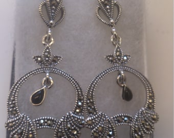 vintage sterling silver marcasite and onyx drop earrings