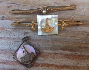 vintage blackpool tower souvenir bar brooch and pendant with another bar brooch