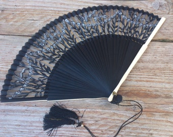 Vintage Black Silk Hand Painted Fan