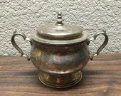 Vintage Oneida Sugar Bowl, Mid Century Silver Plated Sugar Bowl, Oneida Art Deco Sugar Bowl, Ornate Sugar Bowl