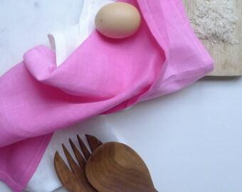 Ombre hot pink  linen tea towel. Bright cerise hand dyed linen tea towel. Dip Dye fuchsia cloth.
