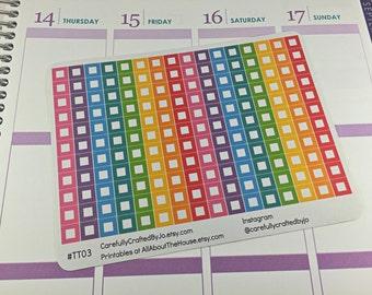 Mini Square Planner Stickers, Rainbow Sticker, Checklist, Reminder, Icon Sticker, Erin Condren, Plum Paper, MAMBI, planner accessory