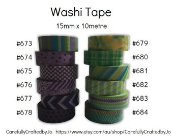 Washi Tape - Purple & Green - 15mm x 10 metres - High Quality Masking Tape