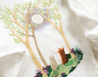 Embroidered seasonal baby muslin square     Can be Personalised