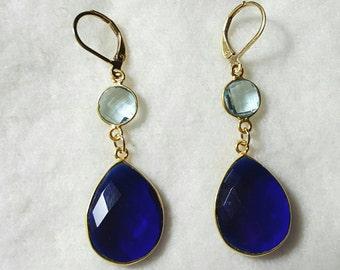Sapphire Blue Chalcedony and Blue Topaz Dangle Earrings