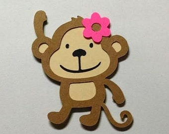 30 Monkey with flower 3 inch die cuts