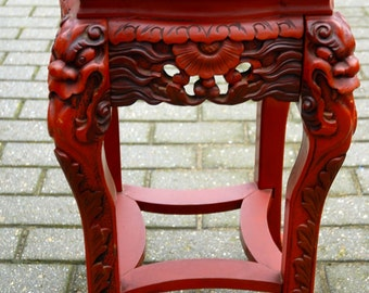 Antique Japanese or Chinees Carved Wood Red Table - Stand with Dragon Motif