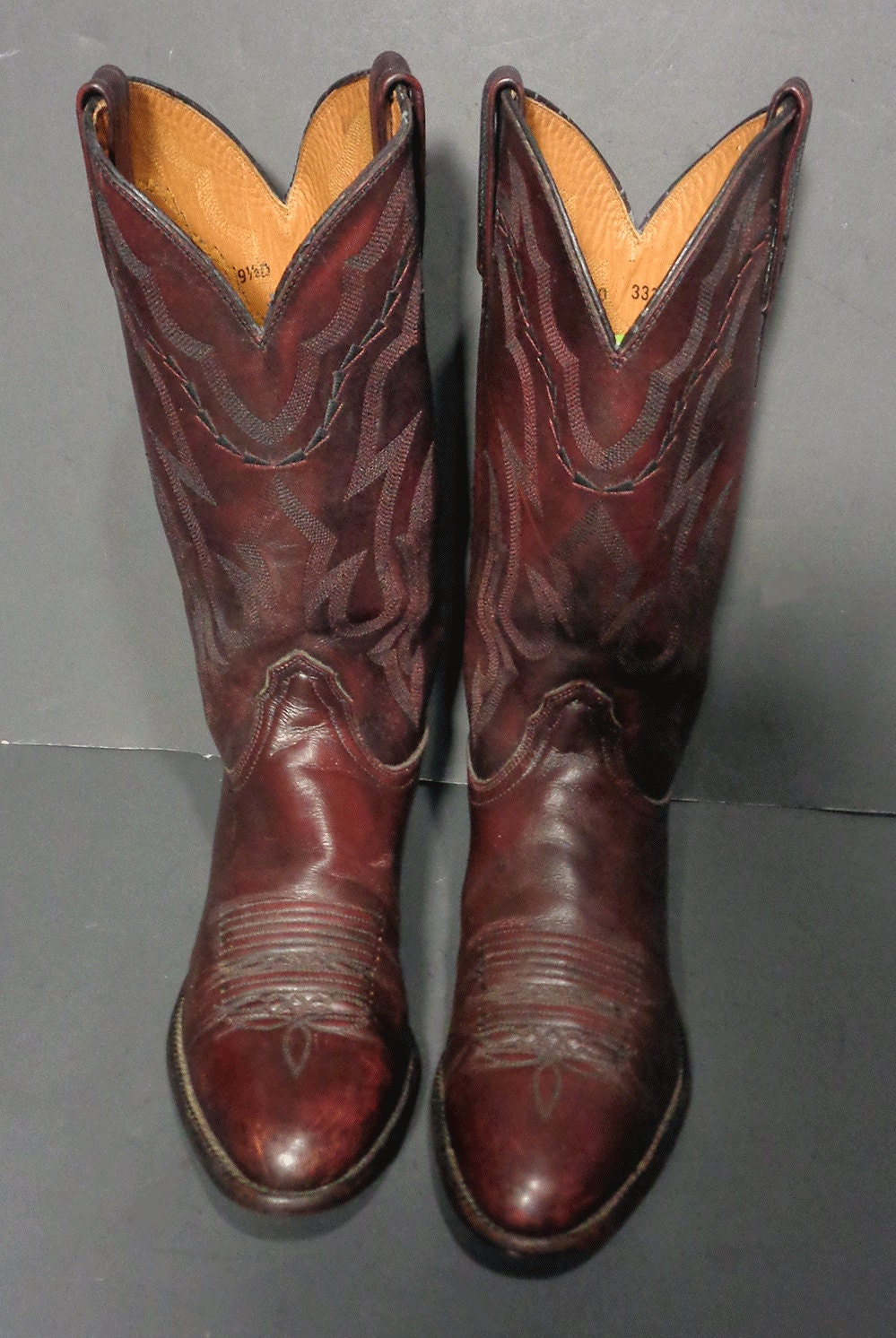Lucchese 2000 Cherry Burgundy Leather Cowboy Western Boots