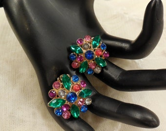 Vintage Multi-Coloured Rhinestone Earrings