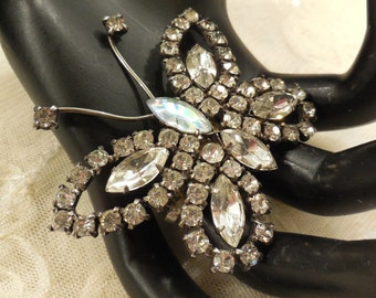 Vintage Clear and AB Rhinestone Butterfly Brooch