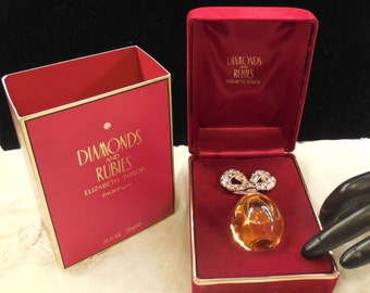 Vintage Elizabeth Taylor's Diamonds and Rubies 7.5ml. Collectible Pure Parfum Bottle