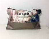 Dyed canvas clutch with leather bottom,Hand Painted Zipper Bag,Black Friday,hand dyed clutch, tie dye purse
