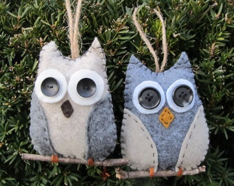 Felt owl duo ornaments on a branch, gray felt and oatmeal wings, oatmeal & gray felt wings, rear view mirror hanger, gift tag