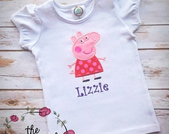 Peppa Birthday Shirt- Applique Embroidery