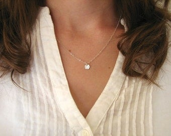 Itty Bitty Silver Disc Necklace, Tiny Dot Necklace, Tiny Silver Circle Necklace, Silver Dot Necklace - Sterling Silver Chain