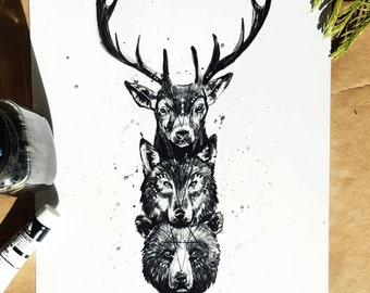 Woodland Totem - Art Print