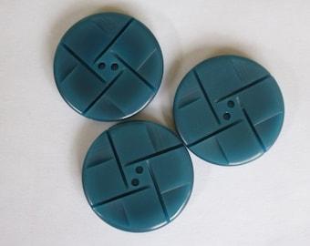 Large Teal vintage buttons.  34mm   Set of 3