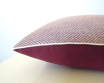 "Cushion cover "" Little graphic japanese circles, bordeaux linen and ecru piping """