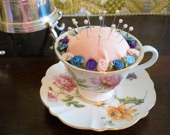Spring Flower Teacup Pincushion * Gift for Mom * Under 20.00 * Sewing Decor * Quilters Gift * Grandmother Gift * Sewing Notion * Mothers Day
