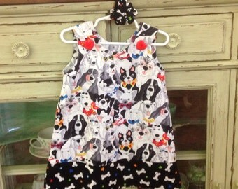 Pack Dogs Dress w Bad to the Bone Band, (infant, baby, girl, toddler,child) with matching hair accessory.