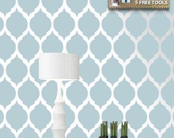Moroccan stencil pattern, Reusable wall stencil designs, DIY home décor, Stencil for design