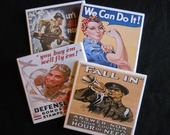 Military Coasters ~ Vintage Military ~ WWII Posters ~ Table Coasters ~ Patriotic Posters ~ Vintage Posters ~ Ceramic Tile Coasters