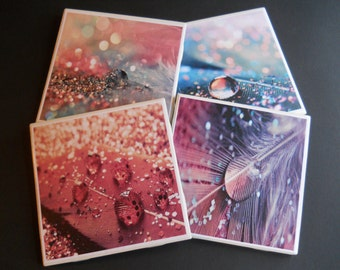 Glitter Coasters ~ Ceramic Tile Coasters ~ Pretty Coasters ~ Feather Coasters ~ Home Decor ~ Drink Coasters ~ Abstract Art ~ Shower Gift