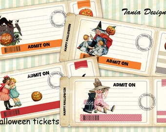 Vintage Halloween tickets - Digital Collage sheet printable images Background Ephemera Clip Art Embellishment