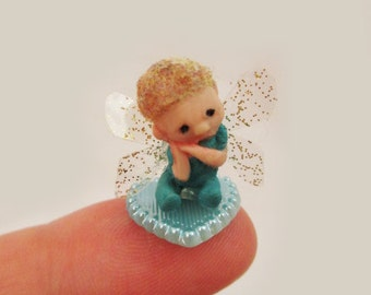 OOAK Micro Miniature Baby Boy Fairy on Heart ~ Pixie Handmade Sculpture by Michele Roy