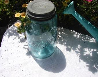 Aqua Antique #7 Ball Jar with Zinc Lid, 1900-1910
