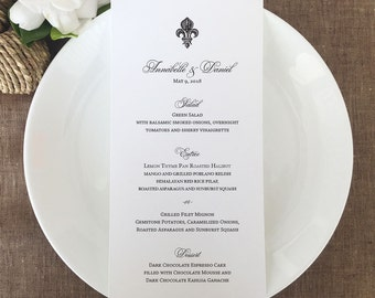 Fleur De Lis Wedding Menu Cards, French Wedding Menus, New Orleans Wedding  Menus